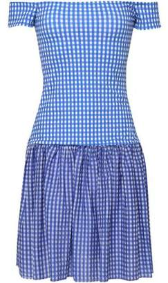 Caroline Constas Diumitra Off-the-shoulder Gingham Stretch-jersey Mini Dress