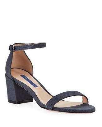 Stuart Weitzman Simple Canvas Ankle-Wrap Sandals