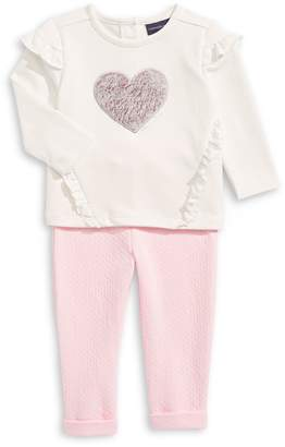 Calvin Klein Baby's French Terry Heart Top Pants 2-Piece Set
