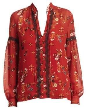 Derek Lam 10 Crosby Silk Lace Trimmed Floral Blouse