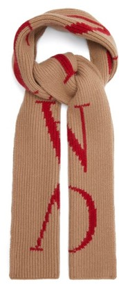 Valentino Logo Intarsia Wool Blend Scarf - Mens - Beige