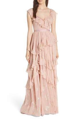 Needle & Thread Ruffled Lurex(R) Butterfly Gown