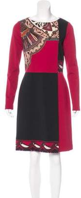 Etro Wool-Blend Sheath Dress Red Wool-Blend Sheath Dress