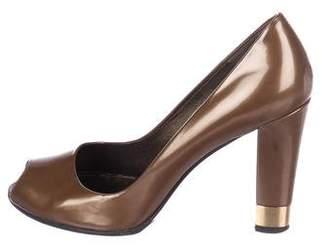 Stuart Weitzman Patent Leather Peep-Toe Pumps