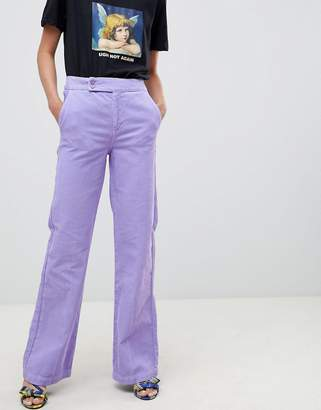 Asos Design DESIGN retro full length flare jeans in lilac cord