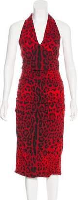 Dolce & Gabbana Animal Print Halter Dress