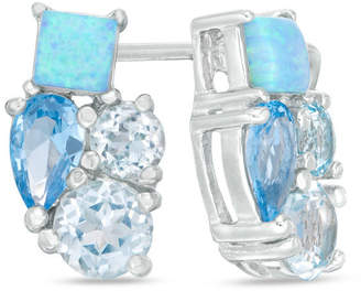 Zales Sky Blue Topaz, Lab-Created Blue Opal and Blue Spinel Cluster Stud Earrings in Sterling Sliver