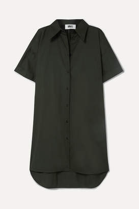 MM6 MAISON MARGIELA Oversized Cotton-poplin Mini Dress - Army green