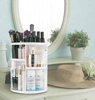 Jerrybox 360 Degree Rotation Adjustable Multi-Function Cosmetic Storage Box, Large (White) $39.99 thestylecure.com