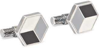 Bottega Veneta Enamelled Sterling Silver Cufflinks - Silver