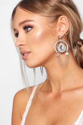 boohoo Gem & Chain Statement Earrings