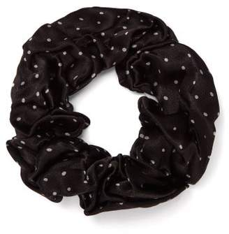 Ganni Polka Dot Print Scrunchie - Womens - Black