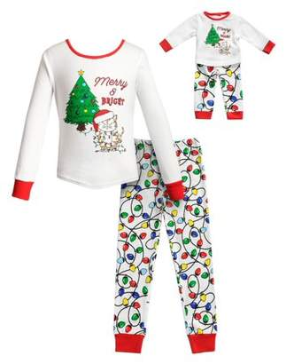 Dollie & Me Christmas Tree Long Sleeves Snug Top and Pajama - 2 -Piece Outfit with Matching Doll Set (Little Girls and Big Girls)