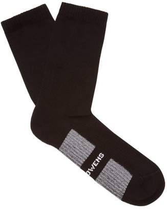 Rick Owens Intarsia Logo Cotton Blend Socks - Mens - Black
