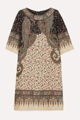 Etro Printed Silk-blend Cloqué Midi Dress - Beige