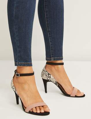 Lane Bryant Mixed-Fabric Ankle-Strap Heel