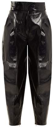 Wanda Nylon - High Rise Tapered Leg Coated Trousers - Womens - Navy