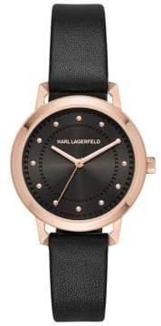 Karl Lagerfeld Vanessa Stainless Steel Three-Hand Leather-Strap Watch