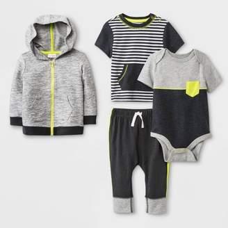Cat & Jack Baby Boys' Hoodie, Bodysuit, T-Shirt and Leggings Set Charcoal/Black