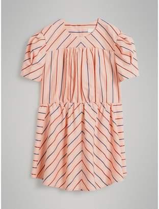 Burberry Childrens Striped Cotton Silk Panelled Dress