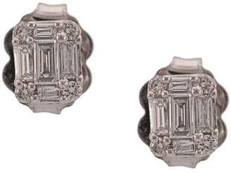 Sara Weinstock 18kt white gold small Illusion emerald cut studs