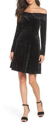 Chelsea28 Off the Shoulder Velvet A-Line Dress