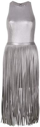 Halston fringed midi dress