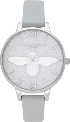 Olivia Burton Glitter Dial Eco Faux Leather Strap Watch, 34mm