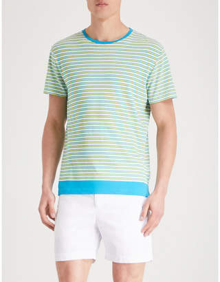 Orlebar Brown Striped-pattern cotton-linen blend T-shirt