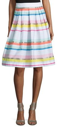 Kate Spade New York Ribbon Striped Pleated Skirt $149 thestylecure.com