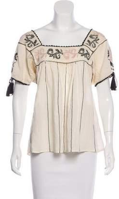 Ulla Johnson Short Sleeve Embroidered Top