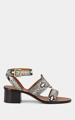Chloé Women's Rony Stamped Leather Ankle-Strap Sandals - Gray