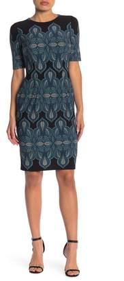 London Times Printed Matte Sheath Dress (Petite)