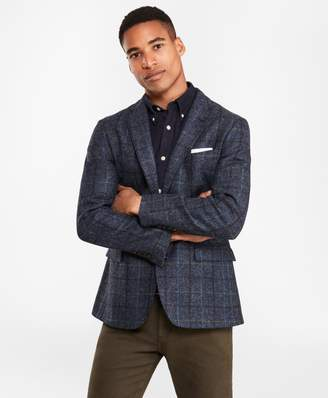 Brooks Brothers Two-Button Blue Windowpane Wool Sport Coat