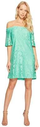 Donna Morgan Off the Shoulder Short Sleeve Knit Lace Shift Dress Women's Dress