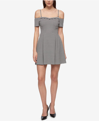 GUESS Off-The-Shoulder Knit Fit & Flare Dress $128 thestylecure.com