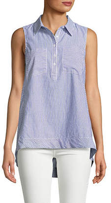 Jones New York Striped Sleeveless Cotton Tunic