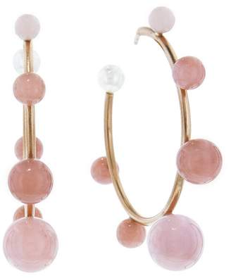Irene Neuwirth Graduated Pink Opal Hoop Earrings - Rose Gold