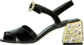 Dolce & Gabbana Patent Jeweled Heel Sandal