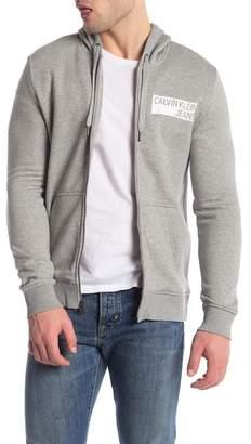 Calvin Klein Logo Print Zip-Up Hoodie