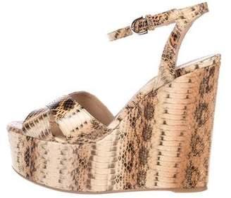 Sergio Rossi Snakeskin Platform Sandals