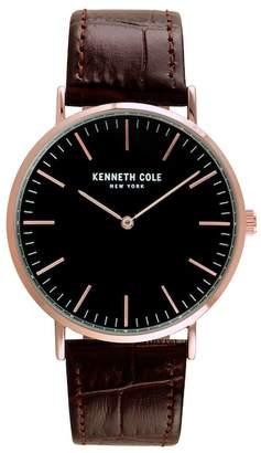 Kenneth Cole New York Men's Quartz Leather Strap Watch, 39mm