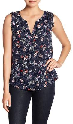 Sanctuary Sleeveless Tie Craft Shell Floral Print Blouse