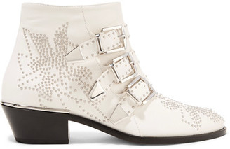 Chloé - Susanna Studded Leather Ankle Boots - White $1,380 thestylecure.com