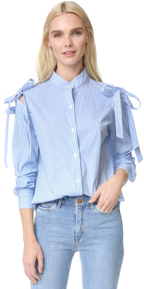 Clu Open Shoulder Shirt with Bow $196 thestylecure.com