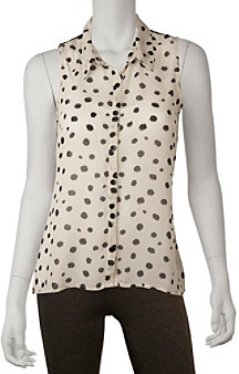 Amy Byer A Byer A. Byer Juniors' Polka Dot Lace Back Shirt