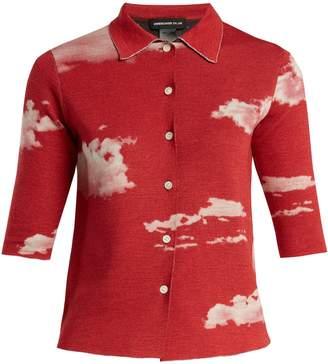 Undercover Cloud-print reversible wool shirt