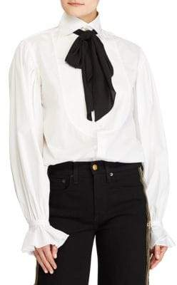 Polo Ralph Lauren Cotton Tie-Neck Blouse