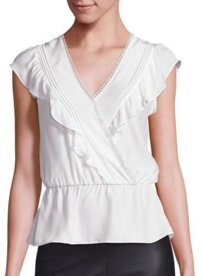 Parker Taylan Silk Ruffle Top $265 thestylecure.com