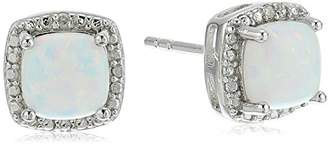 Sterling Silver Cushion Garnet and Diamond Accented Halo Stud Earrings